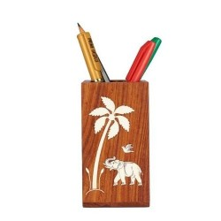 Engraved Palm Leaf Pen Stand
